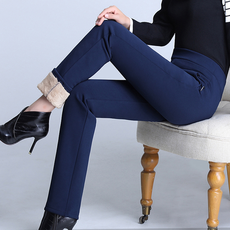 Women Pant Winter Thick Lambswool Pants Warm Female Casual Thich Fleece Skinny Pencil Pants 2019 Long Trousers Plus Size 4xl
