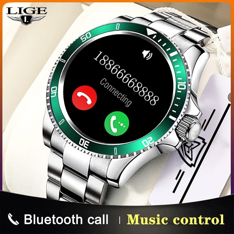 LIGE 2021 Новый смарт-часы для мужчин полный сенсорный Экран Спорт Фитнес часы IP68 Водонепроницаемый Bluetooth для Android ios смарт-часы мужские