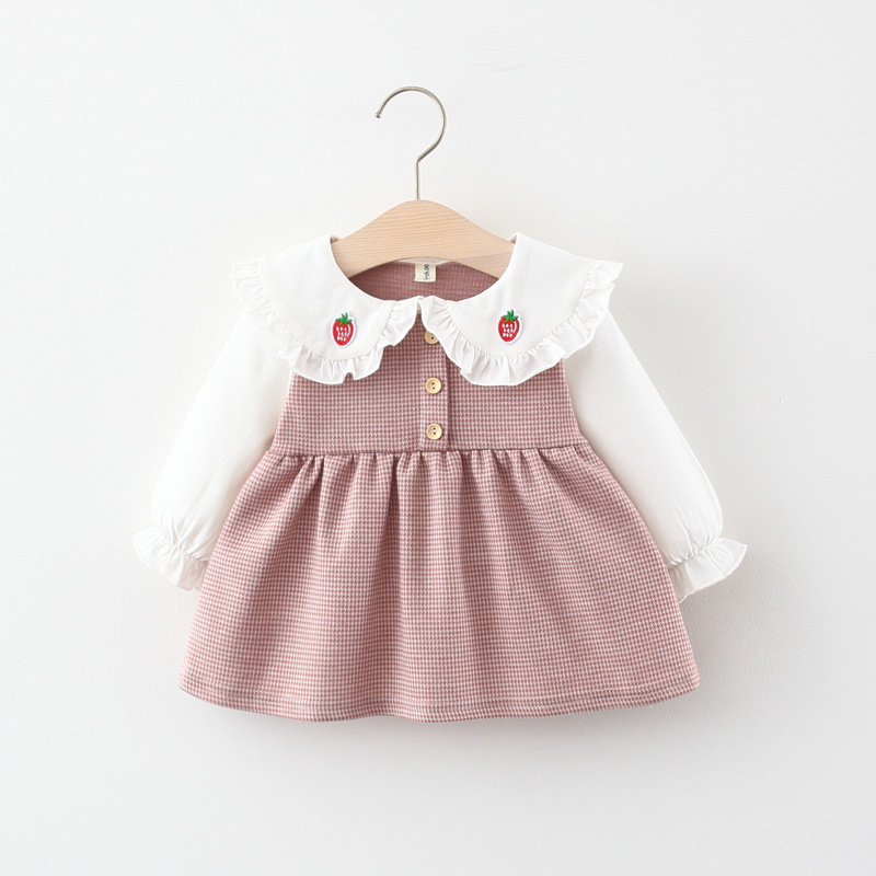 Spring newborn baby girl clothes outfit plaid dress for toddler girls baby clothing 1 year birthday infant babies dresses dress