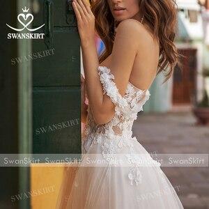 Image 5 - Sweetheart 3D Flowers Wedding Dress 2020 Off Shoulder Tulle A Line Princess Bridal Gown Swanskirt UZ40 Illusion Vestido de Noiva
