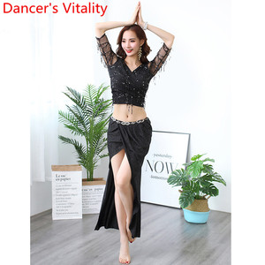 Image 2 - Belly Dance Practice Clothes Sequin Tassel Cut out Sleeve Top Skirt Set Women Beginners Beginners Oriental Indian Dancers Wear