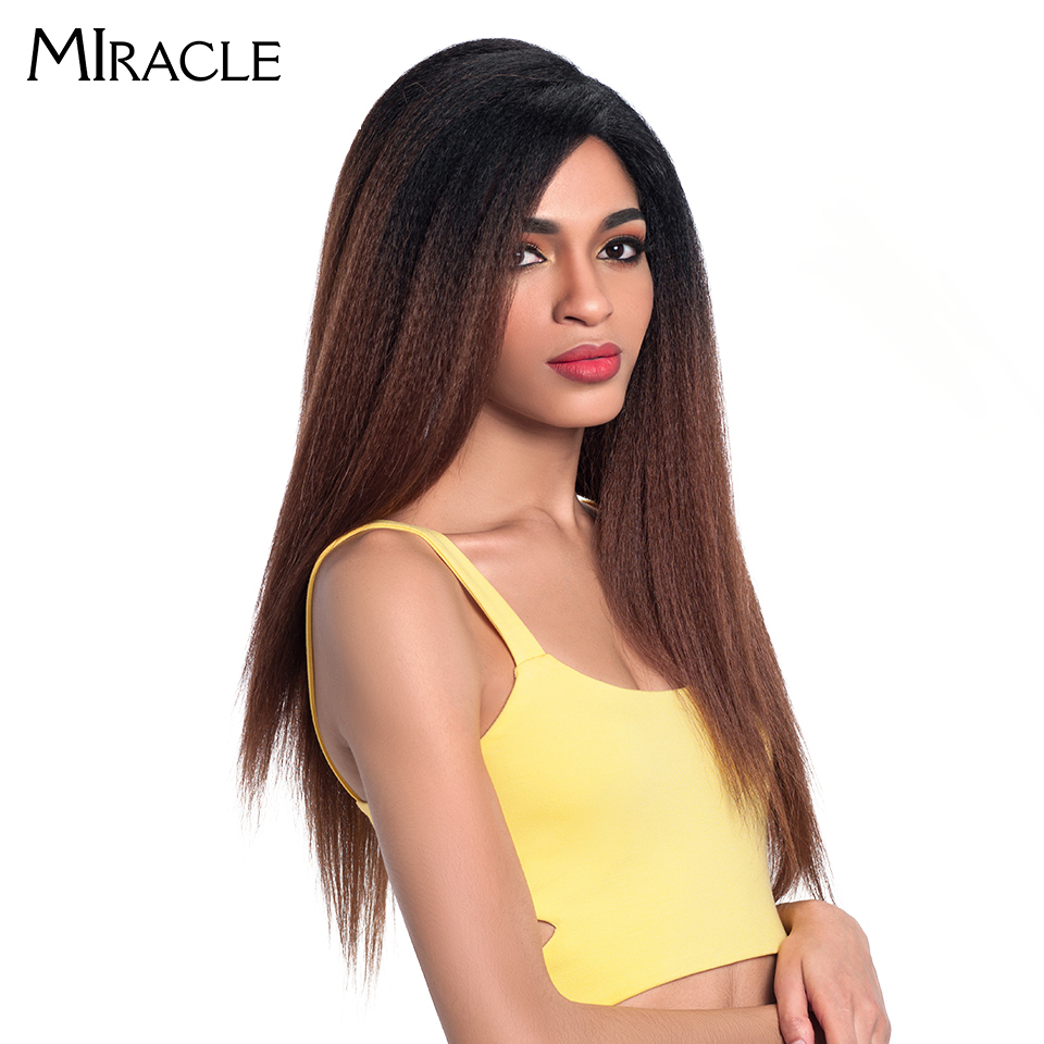 """Image 2 - Miracle Hair Ombre 26""""Inch Long Straight Synthetic Hair Lace Front Wigs For Black Women Yaki Lace Wigs With Baby Hair Free Part-in Synthetic Lace Wigs from Hair Extensions & Wigs"""