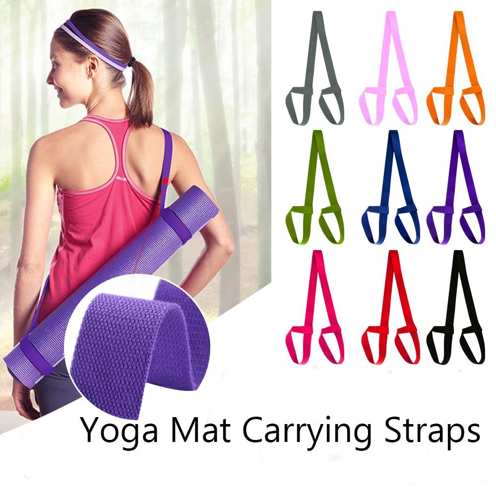 12Colors Yoga Mat Strap Belt Adjustable Sports Sling Shoulder Carry Strap Belt Exercise Stretch Elastic Yoga Belt High Quality