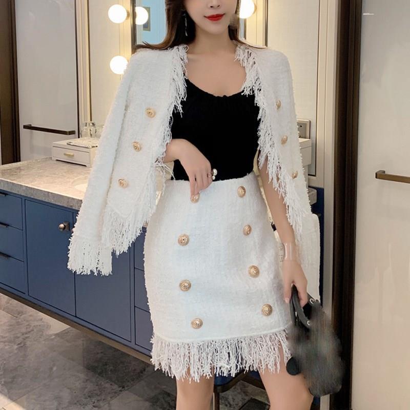 Nouvelle veste femmes automne hiver laine frangée Tweed gland deux pièces ensemble blanc mince à manches longues en vrac deux pièces tenues