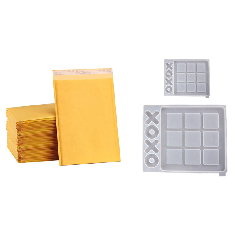 25Pcs 6X7 Inches Kraft Bubble Mailers Small Bubble Envelopes & 2 Pcs DIY Tic Tac Toe Game and X O Silicone Resin Mold