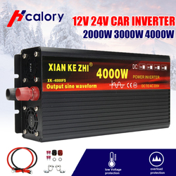 Inverter 12V/24V 220V 3000/4000W Voltage transformer Pure Sine Wave Power Inverter DC12V to AC 220V Converter+2 LED