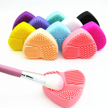 バレル 1 ピースシリコーン化粧ブラシ洗浄メイクブラシクリーナーハートグローブ化粧ブラシ洗浄マットポータブル洗濯ツール