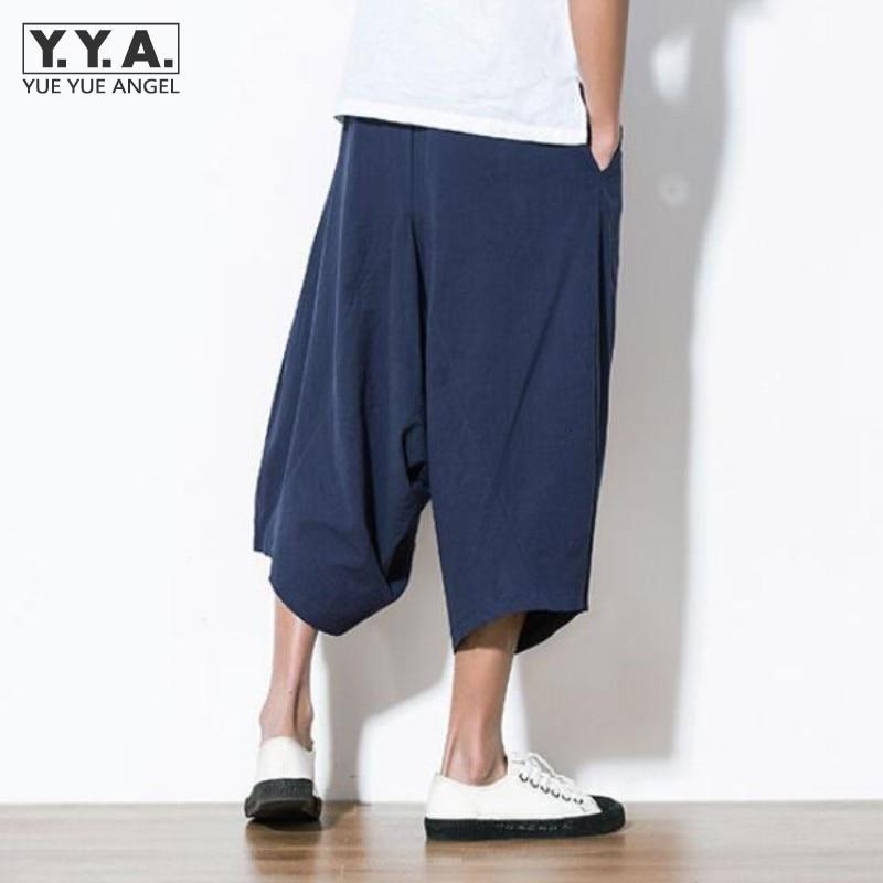 Japan Harajuku Loose Mens Capri Pants Linen Cotton Haren Pants Wide Leg Comfort Mens Short Trousers Casual Male Short Beachwear