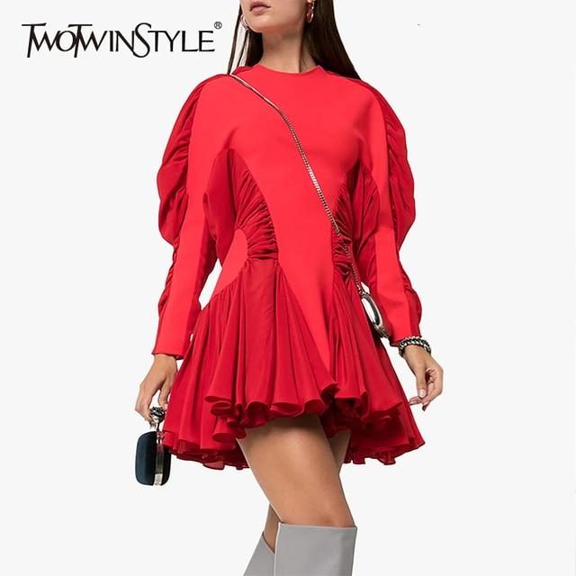 Twotwinstyle vestido feminino babado, patchwork vestidos femininos gola redonda manga comprida cintura alta ruched moda feminina 2020 roupa de maré