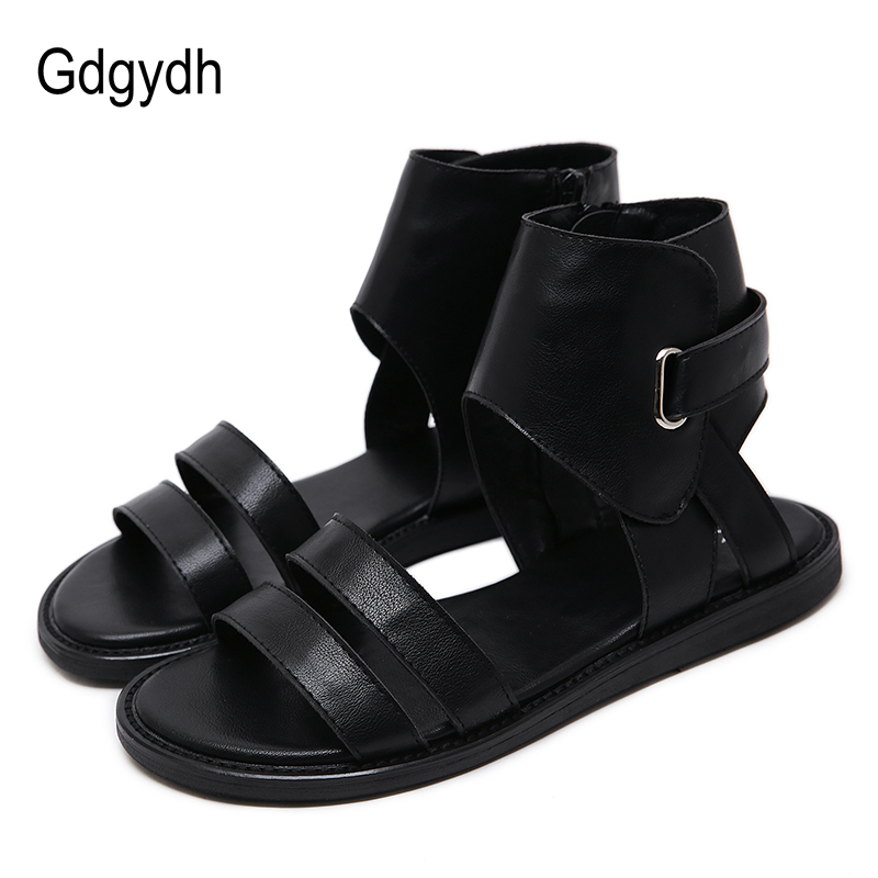 Gdgydh 2020 New Summer Leather PU Ladies Flat Sandals With Free Shipping European Vintage Women Summer Shoes Flat Heel Causal