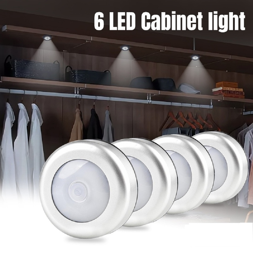 6 LEDs Cabinet Lights Closet Light 1/2/4 Pcs Wireless Button Control Battery-powered New Super Bright Cabinet Light Night Lights
