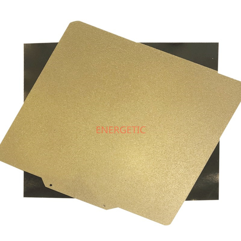 ENERGETIC New 377x370mm Double Sided Textured/Smooth PEI Spring Steel Sheet Powder Coated PEI Flex Plate + Base For Ender-5 Plus