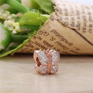 925 стерлингового серебра с металическими бусинками бабочка цветок Бесконечная любовь Сердце розы Подвески, соответственные Европейской Пандоре обаятельные Браслеты DIY для женщин ювелирные изделия