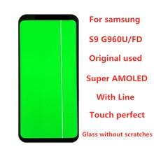 Orijinal 5.8 AMOLED Samsung Galaxy S9 G960A G960U G960F LCD ekran dokunmatik ekran Digitizer meclisi ile hattı