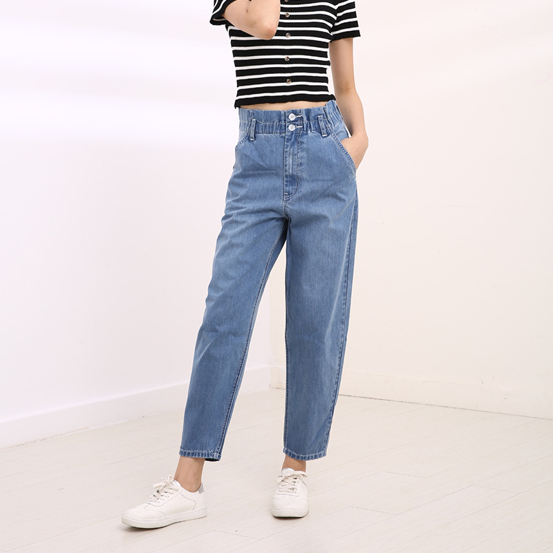 Autumn Women Plus Size Jeans 6XL Hole Ripped High Waisted Harem Pants Trousers Women Elastic Waist Cotton Mom Jeans High Quality