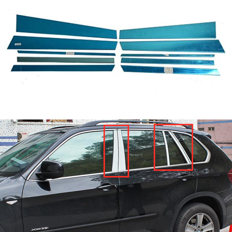 For <font><b>BMW</b></font> X5 E70 2008 -2013 Stainless Steel Accessaories Exterior Window Sill Middle Pillars Cover Trims 10 <font><b>PCS</b></font> image