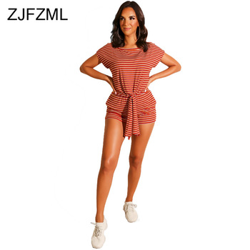 Blue White Striped Two Piece Outfit Women Clothes 2020 O Neck Short Sleeve Crop Top And Fitness Short Casual Plus Size Sweatsuit plus embroidered square neck striped top