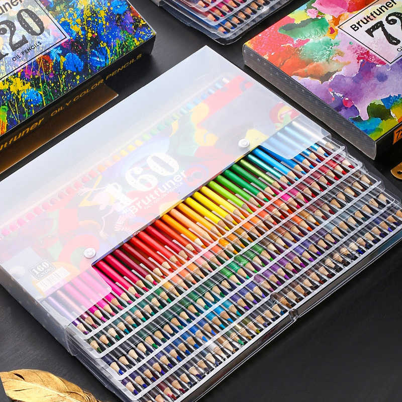 160 ألوان المهنية رسم النفط أقلام ملونة مجموعة الفنان رسم اللوحة قلم رصاص ألوان خشبي مدرسة الفن اللوازم