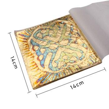 Hojas de hoja de oro, láminas de cobre variadas para arte dorado, decoraciones de uñas de papel, cerámica DIY 50 Uds., hojas de bronce 14X14cm