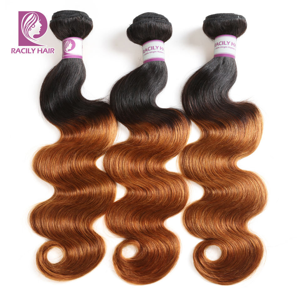 Racily Hair 1B/30 Brown Ombre Brazilian Hair Body Wave Hair Extensions Remy Human Hair Weave Bundles 1/3/4 Bundles 10-28 Inches