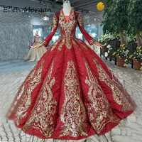 Saudi Arabian Burgundy Vintage Evening Dresses Robe De Soriee Long Sleeve Glitter Gold Lace Sequins Party Ball Gowns For Woman