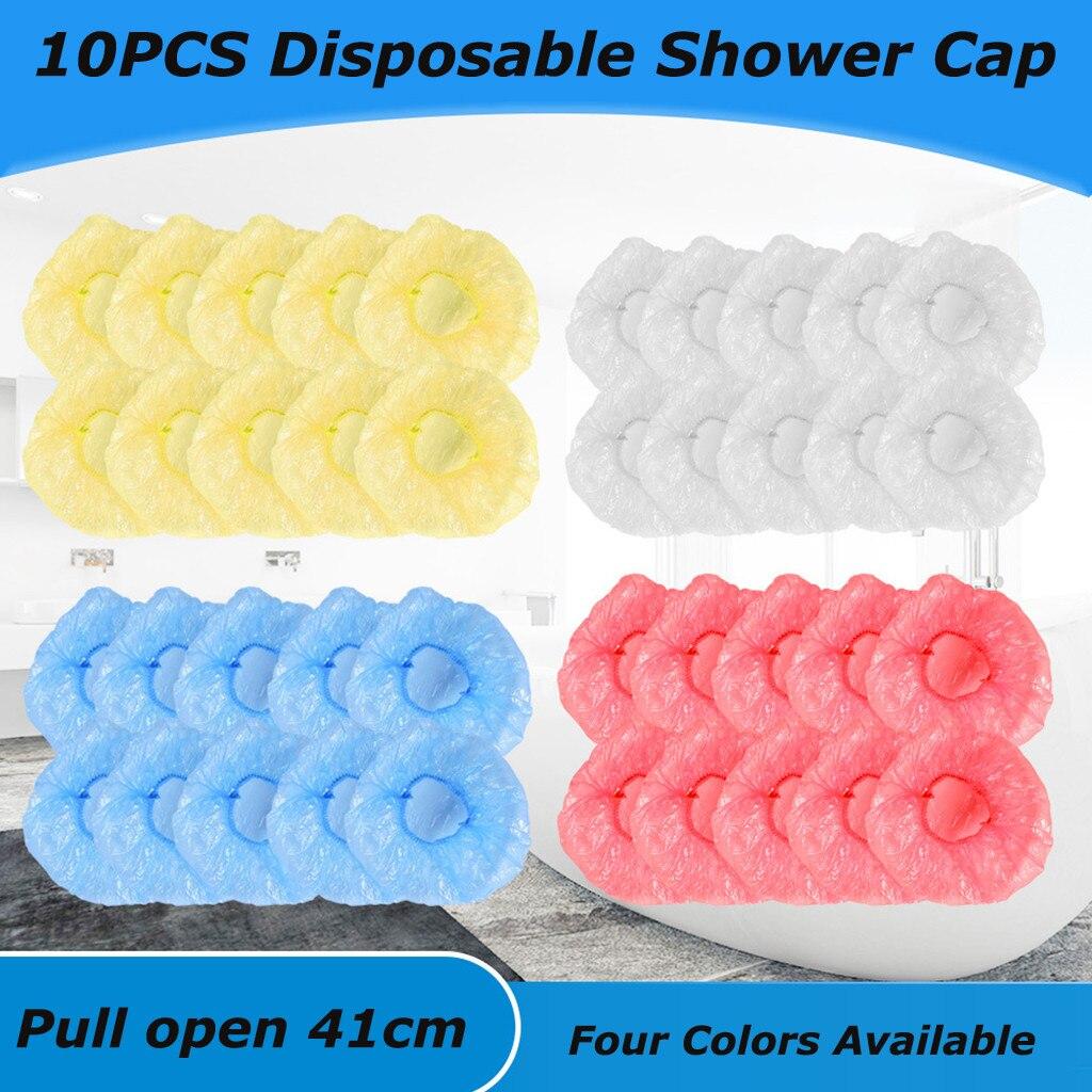 Catering 10PC Toucas de banho Descartáveis Hairnet Estiramento Chapéu Spa Hair Salon Hotel One-Off Shower Cap Elastic Banho À Prova D Água