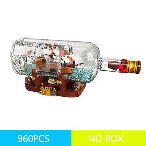 960 шт. 16051 светильник Technic Idea корабельная Лодка в бутылке пиратский корабль 21313 строительные блоки кирпичи игрушки для детей подарок