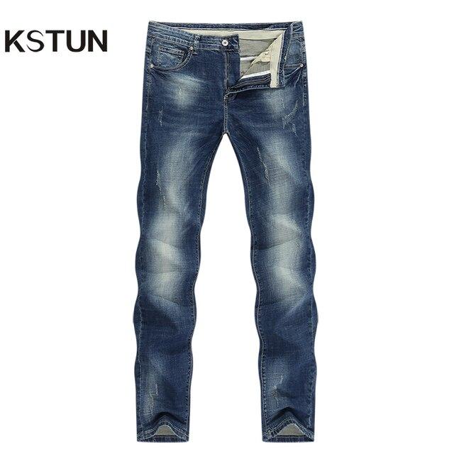 KSTUN Mens Jeans Classic Direct Stretch Dark Blue Business Casual Denim Pants Slim Straight Long Trousers Gentleman Cowboys 38
