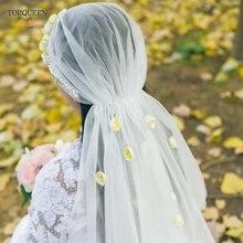 Topqueen v42 элегантная Цветочная свадебная вуаль с жемчугом