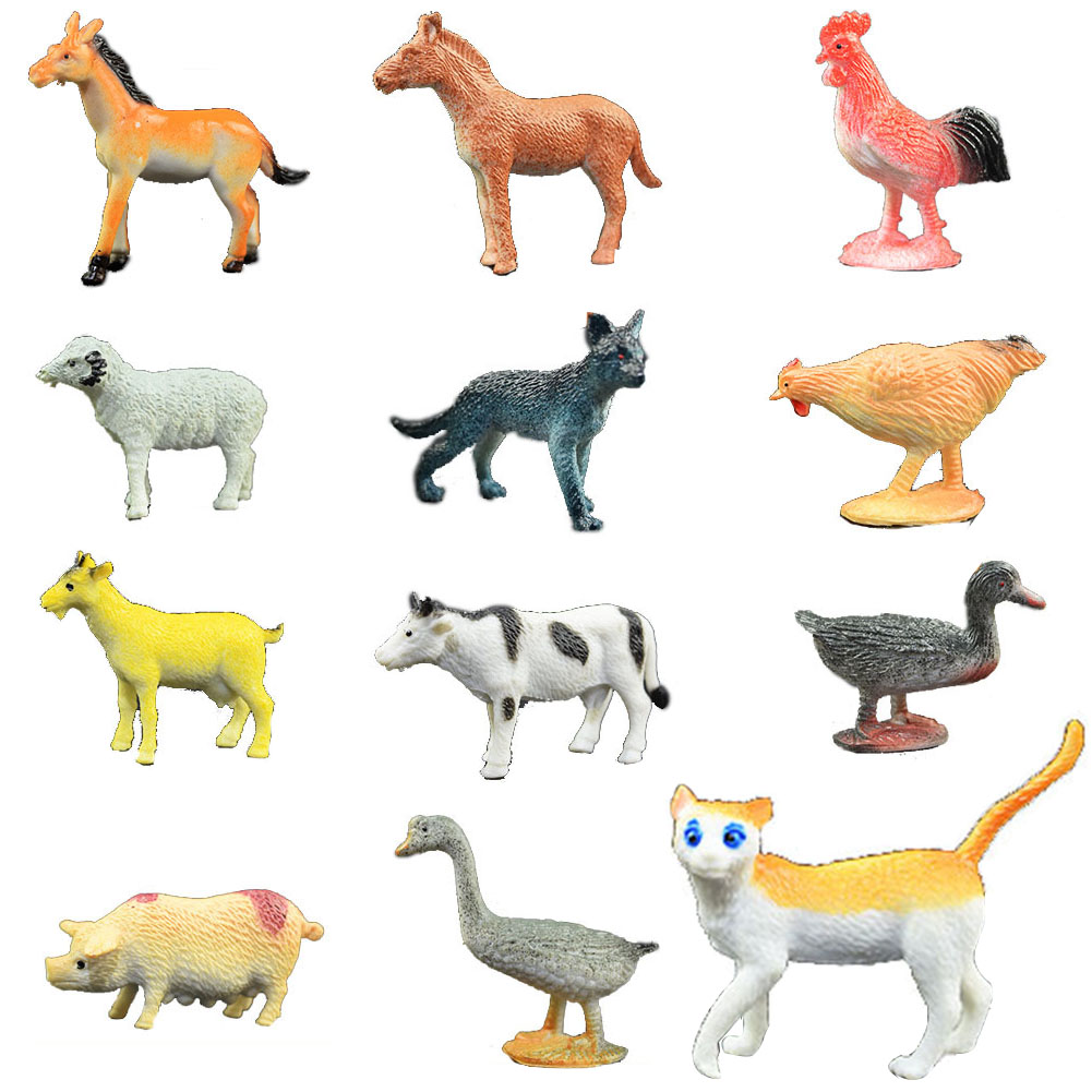 12 PCs/set Mixed Simulation Poultry Mini Animal Model Ornaments Toy Farm Dog Cat Cow Plastic For Kid Intelligence Pig Duck image