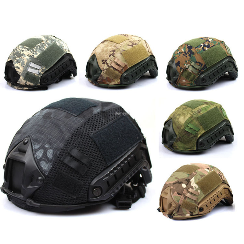 Tactical Fast Helmet Cover Military Airsoft Paintball Helmet Cover Multicam Camouflage Hunting CS Wargame Helmet Mesh Cover