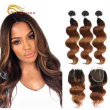 70g/pc Ombre Human Hair Bundles With Closure 1B 30 Honey Blonde Bundles With Closure Peruvian Body Wave Bundles With Closure
