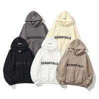 Sudadera con capucha para hombre, con estampado de letras reflectantes, forro polar, de gran tamaño, ropa informal estilo Hip Hop