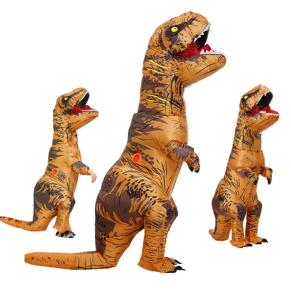Adult Kids Inflatable Dinosaur Costume T REX women Men Costumes dinosaur Alien Halloween Party Fancy Dress suit Carnival Cosplay title=