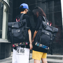 Trendy double shoulder backpack for both men and women fashionable Oxford cloth bag leisure art unique large backpack leisure men s backpack with double buckle and black color design