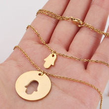 New Double Layer Stainless Steel Hamsa Hand Pendant Necklace For Women Gold And SIlver Color Necklace Engagement Collar Jewelry chereda stainless steel necklace for women man lover s girl gold and silver color pendant necklace engagement jewelry