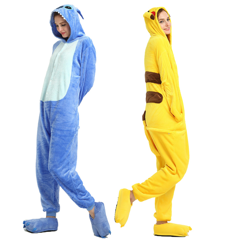Adult Unicorn Pikachu Kigurumi Onesies Flannel Pajamas Family Party Halloween Animal Stitch Pijamas