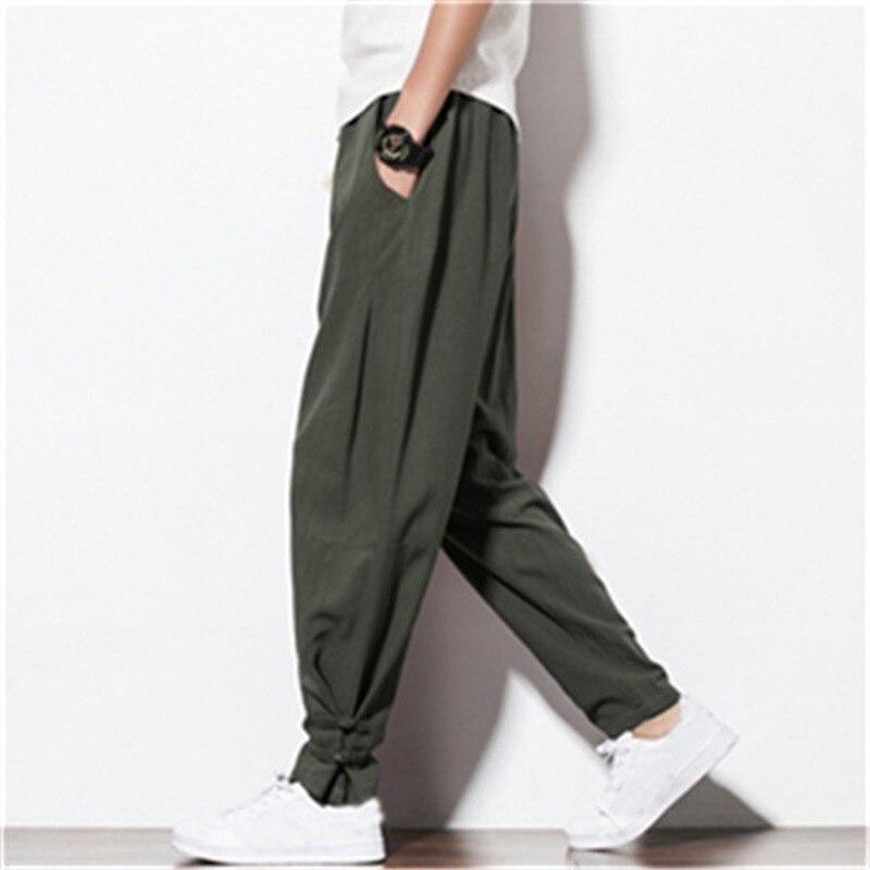 New Men's Cotton Linen Chinese Style Elastic Waist Casual Sweatpants Streetwear Loose Harem Hip Hop Pants Male Trousers