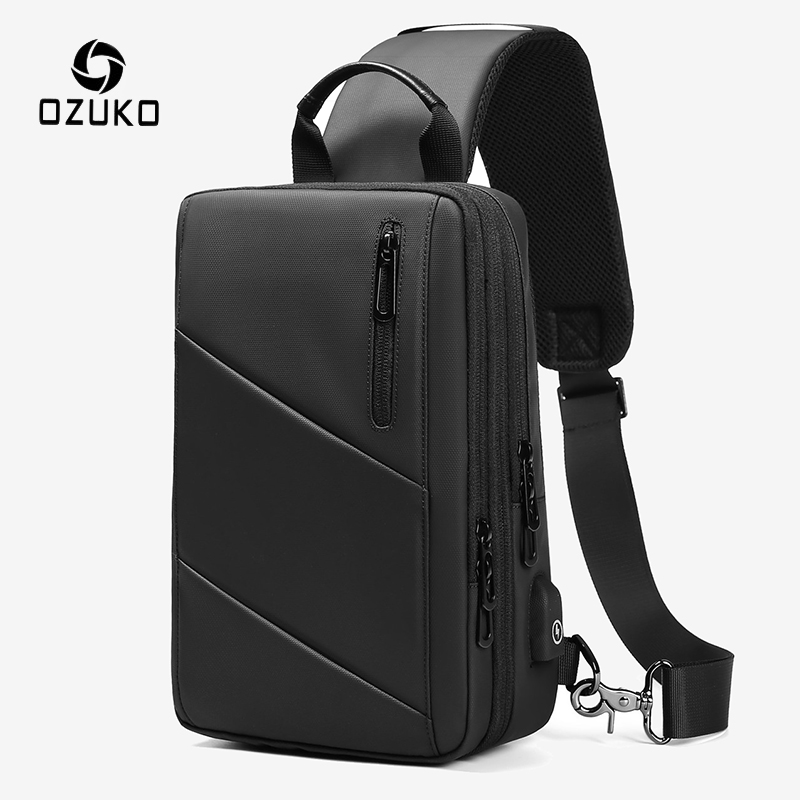 OZUKO Expandable Men Crossbody Bags Multifunction USB Charging Chest Pack Messengers Male Waterproof Shoulder Chest Bag 2020 NEW