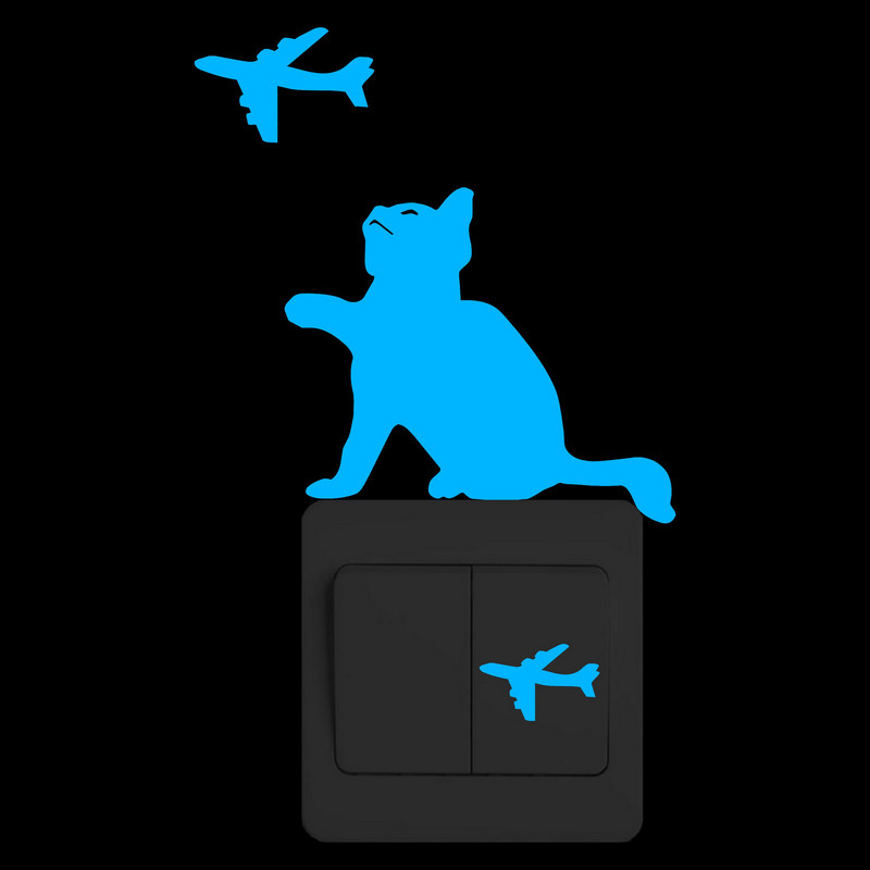 Funny Cat and Airplanes Glow in the Dark Wall Switch Sticker Kids Room Restaurant Hotel Nursery DIY Decoration Luminous Stickers image