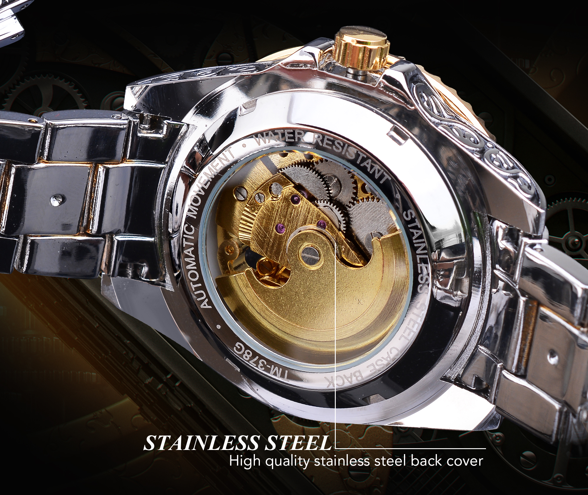 mecânico esqueleto automático relógio dourado dos homens