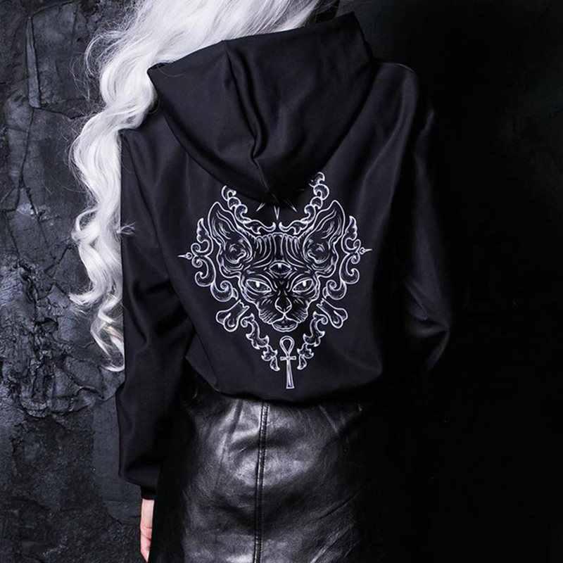 Gothic czarne bluzy z kapturem kobieta na co dzień kota druku Oversize styl bluza kobiet Jumper swetry Streetwear 2019 jesień zima