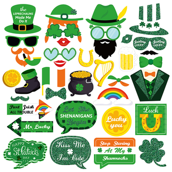38pcs St. Patrick's Day Photo Booth Props Shamrock Irish Saint Patty's Day Party Favor Suppliers Celebrations 1