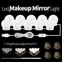 LED Spiegel LED Lamp 12V USB LED Hollywood Make Up Verlichting Kaptafel Spiegel Gloeilamp US EU Plug dimbare Wandlamp-in Badkamerverlichting van Licht & verlichting op