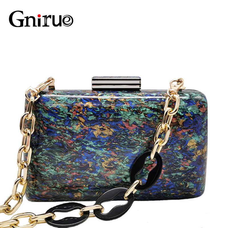 Colorful Shell Marble Acrylic Clutch Bags Fashion Brand Acrylic Chain  Women Messenger Bags Elegant Evening Bags Purses Handbag
