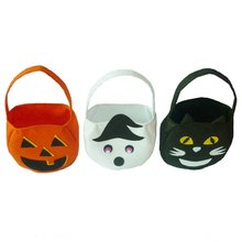 Cute Cartoon Feltro Halloween Tote Bag Con Manico Regalo Candy Treat Borse di Zucca/Fantasma Bianco/Gatto Nero(China)