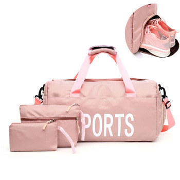 Pink Gym Bag Women With Shoes Compartment Waterproof Large Capacity Sport Bags For Fitness Training Yoga Purple Women Bag Bolsa rockbros gym bag training bags waterproof fitness outdoor sport bag high capacity triathlon bags backpack with rain cover
