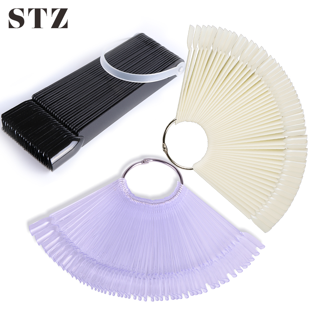 STZ 1 Set False Nails Art Tips Fan Display Palette Color Chart Card Clear Acrylic Fake Gel Polish Practice Nails Tips Tools #386