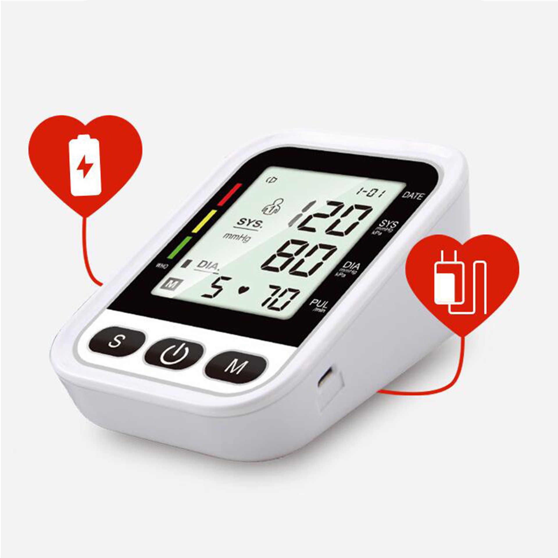 Пожилым людям Монитор артериального давления на руку Автоматическая интеллигентая (ый) Английский Голос Сфигмоманометр большая Экран Дисплей медицинские приборы для использования в домашних условиях, монитор