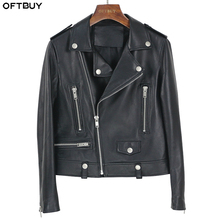 OFTBUY 春革のジャケットの女性 2020 ファッション本物の羊皮のコートリベットオートバイのバイカージャケット女性羊の上着
